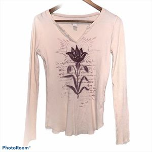Lucky brand thermal shirt with floral pattern